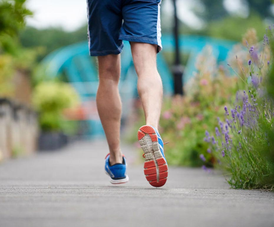 man's legs running