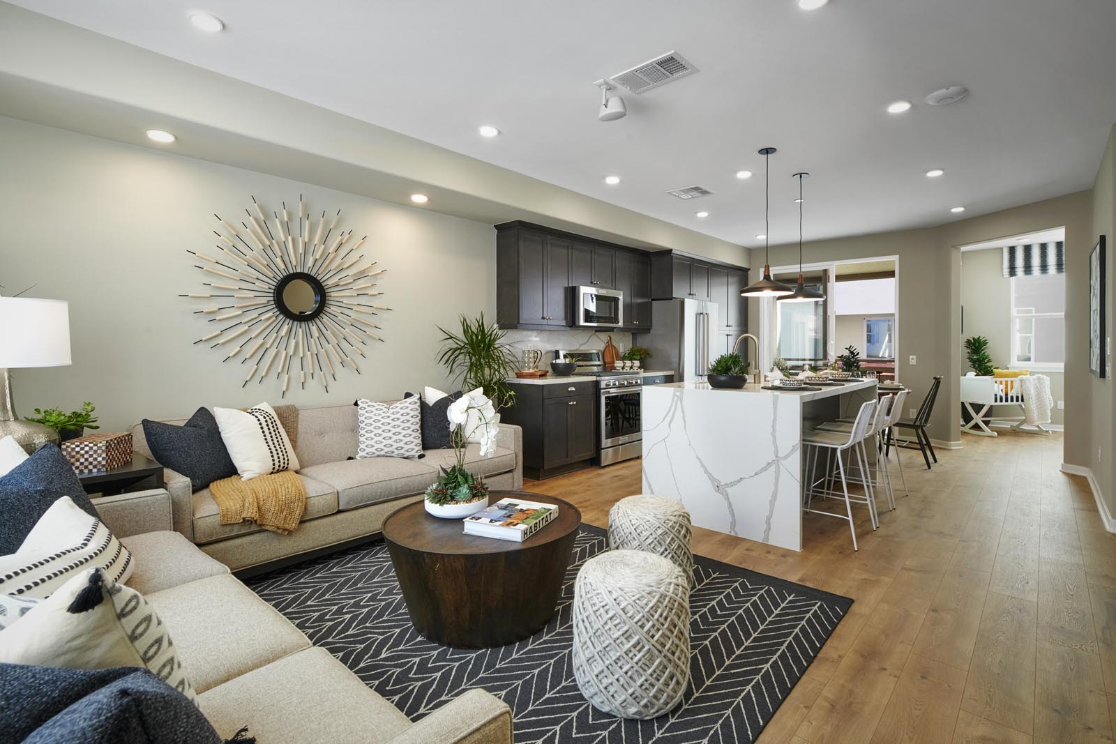 Great Room to Kitchen | Residence 2 | Enliven | New Homes in Rancho Cucamonga, CA | Van Daele Homes