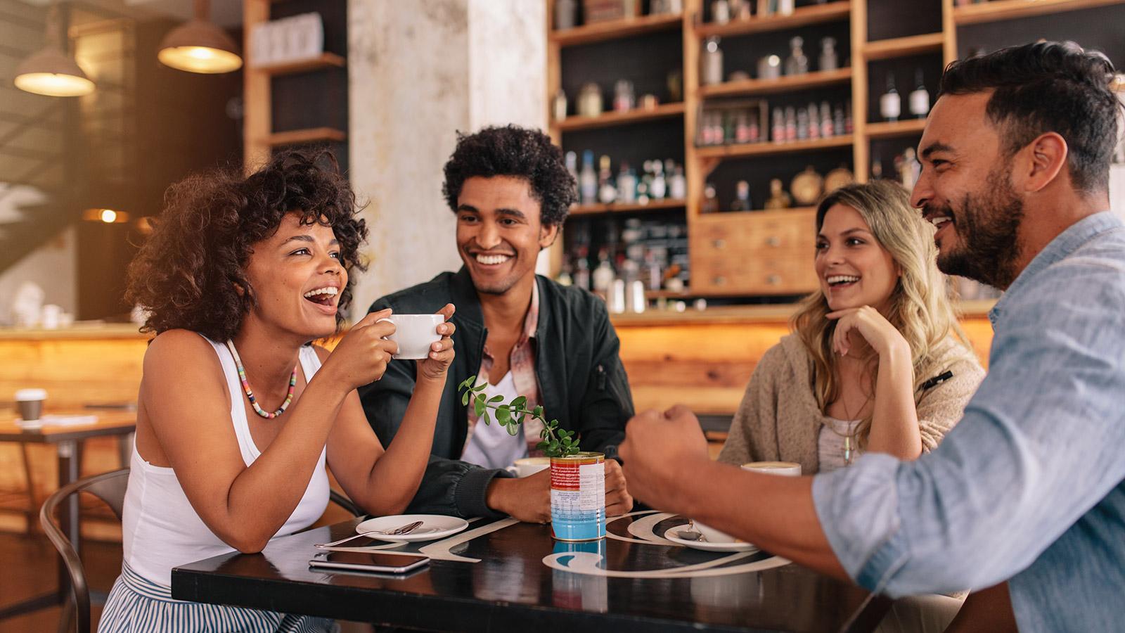 groups of friends having coffee
