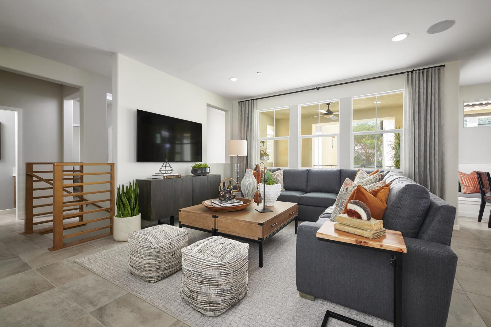 Great Room   Residence 1   Lumin   New Homes in Rancho Cucamonga, CA   Van Daele Homes