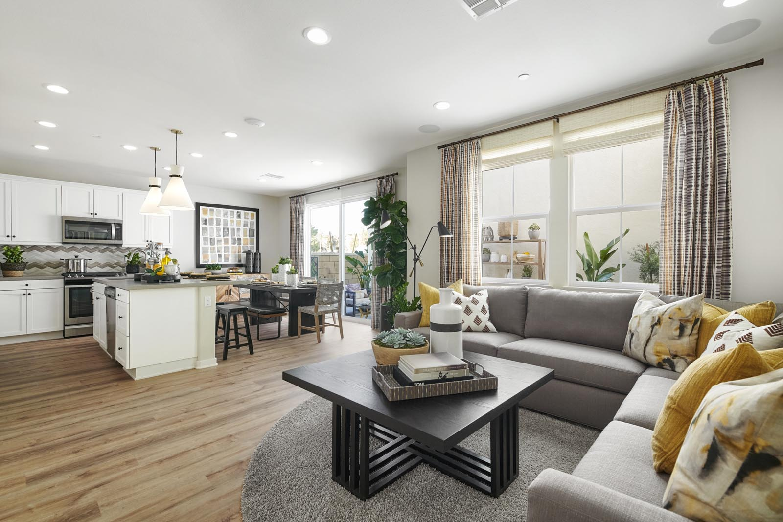 Great Room to Kitchen | Residence 2 | Lumin | New Homes in Rancho Cucamonga, CA | Van Daele Homes