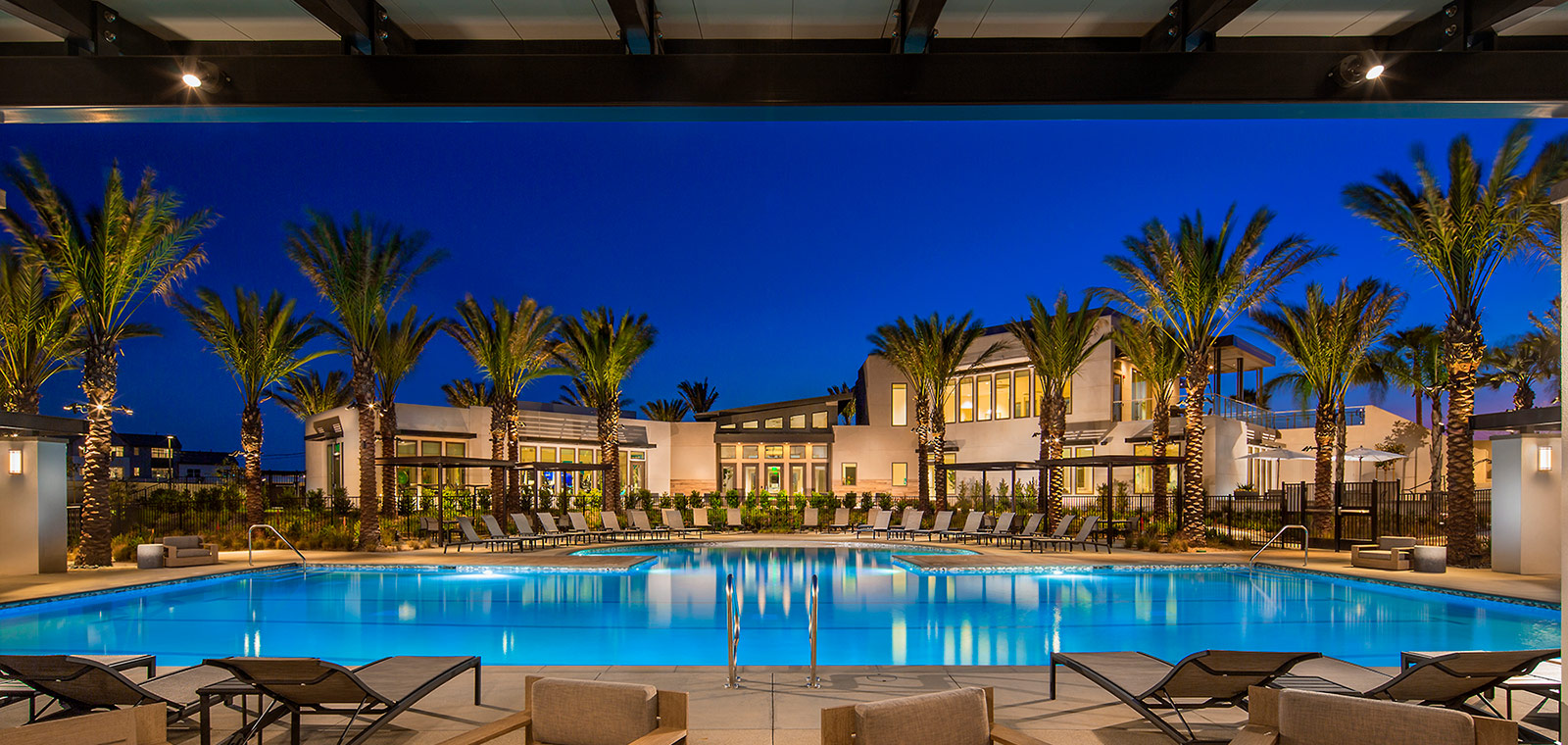 Pool at dusk | The Resort | New Homes in Rancho Cucamonga, CA