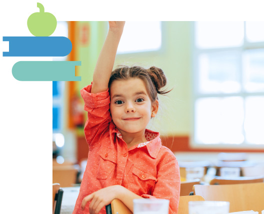 girl raising her hand with apple and books overlay