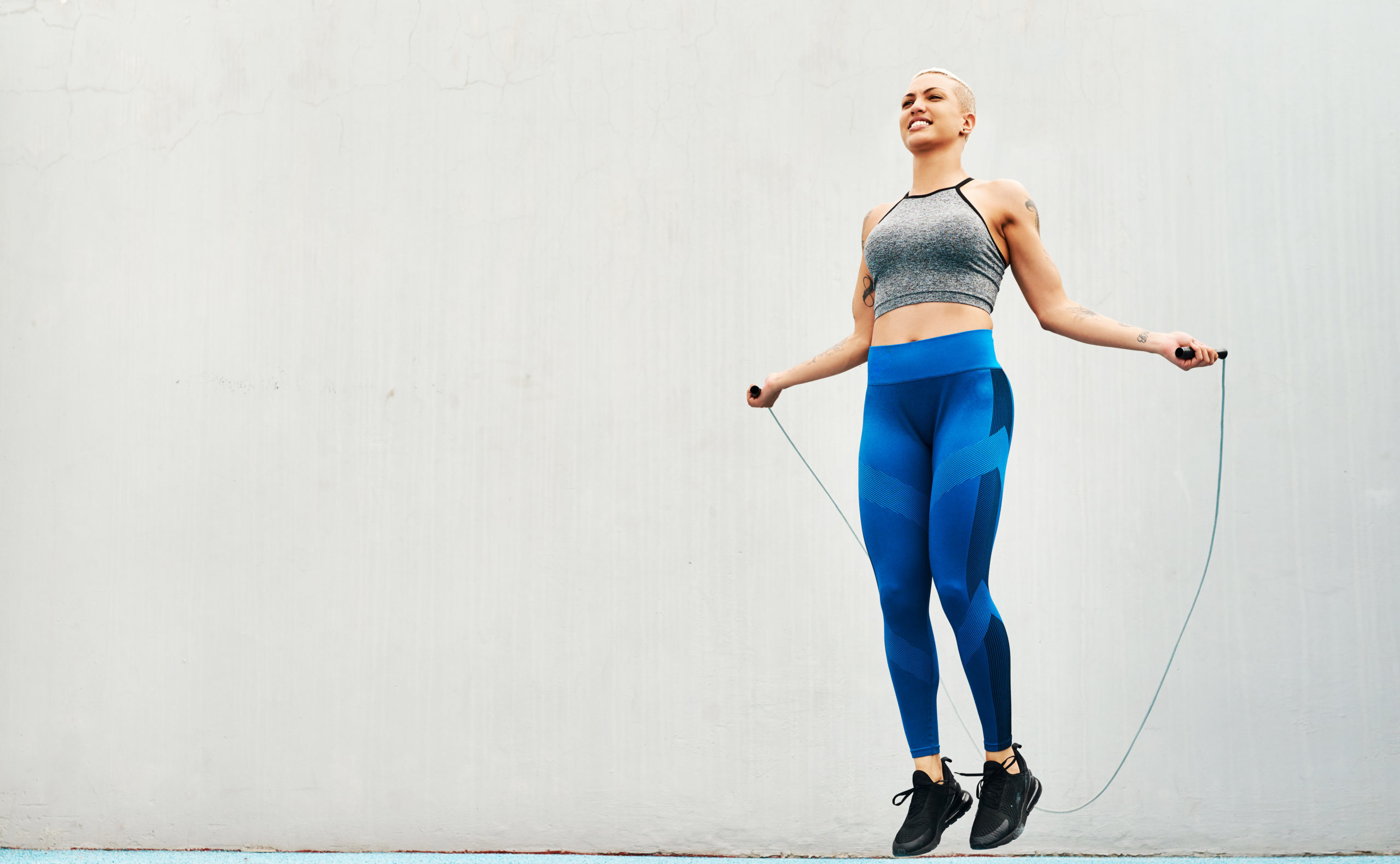 Athlete using a skipping rope